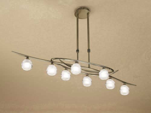 Mantra M1820 Loop Telescopic 8 Light Ceiling Fitting ECO Line Antique Brass