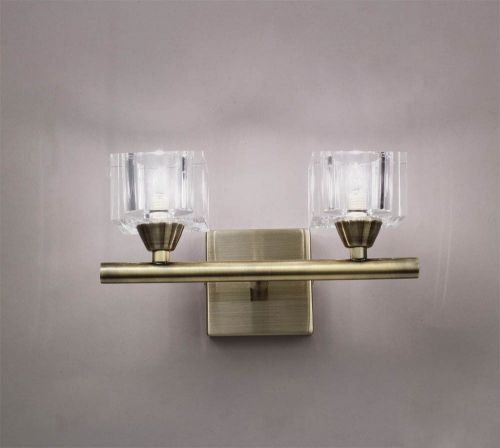 Mantra M2364AB/S Cuadrax Switched Double Wall Fitting G9 Antique Brass