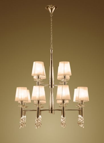 Mantra M3850FG Tiffany 2 Tier Pendant Fitting 24 Light French Gold Soft Bronze Shades Clear Crystal