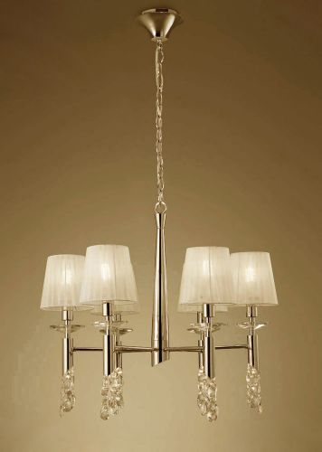 Mantra M3851FG Tiffany Pendant Fitting 12 Light French Gold Cream Shades Clear Crystal