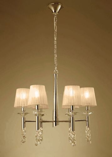 Mantra M3851FG Tiffany Pendant Fitting 12 Light French Gold Soft Bronze Shades Clear Crystal