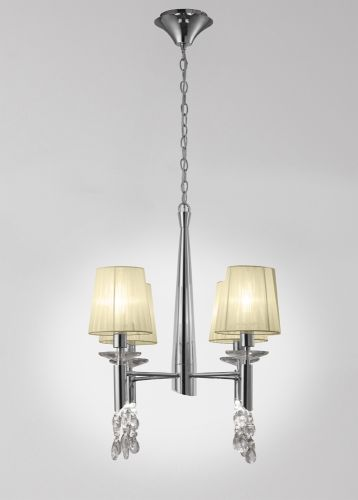 Mantra M3852 Tiffany Pendant Fitting 8 Light Polished Chrome Cream Shades Clear Crystal