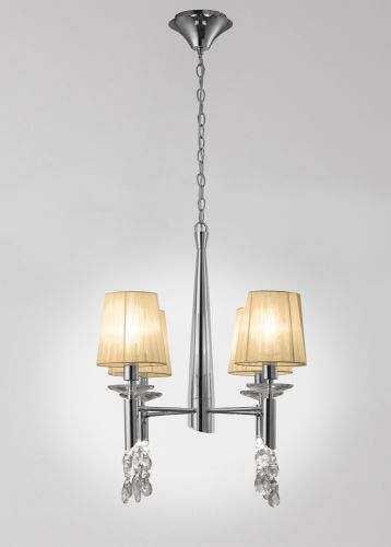 Mantra M3852 Tiffany Pendant Fitting 8 Light Polished Chrome Soft Bronze Shades Clear Crystal
