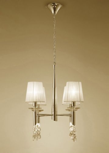 Mantra M3852FG Tiffany Pendant Fitting 8 Light French Gold Cream Shades Clear Crystal