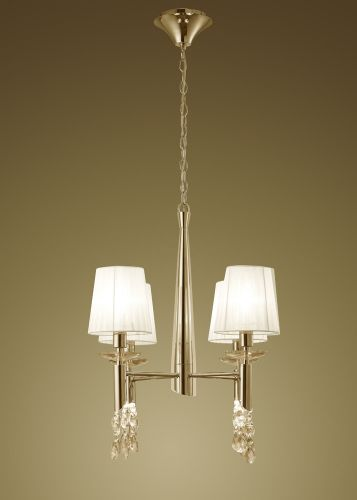 Mantra M3852FG Tiffany Pendant Fitting 8 Light French Gold White Shades Clear Crystal