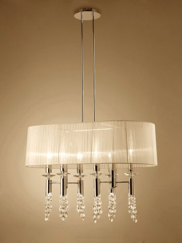 Mantra M3853FG Tiffany Pendant Fitting 12 Light Oval French Gold Cream Shade Clear Crystal