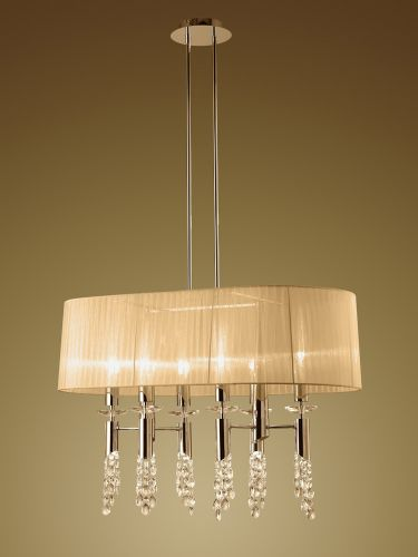 Mantra M3853FG Tiffany Pendant Fitting 12 Light Oval French Gold Soft Bronze Shade Clear Crystal