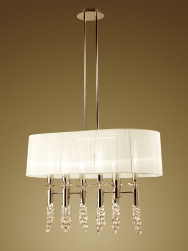 Mantra M3853FG Tiffany Pendant Fitting 12 Light Oval French Gold White Shade Clear Crystal