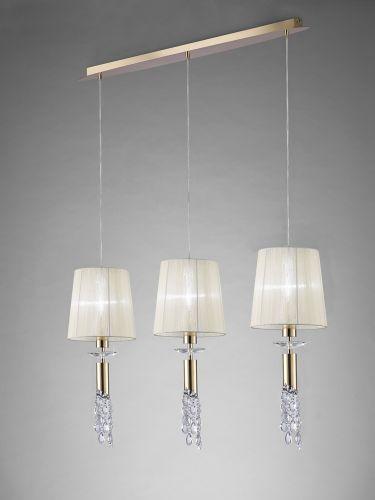 Mantra M3855FG Tiffany Bar Pendant Fitting 6 Light French Gold Cream Shades Clear Crystal