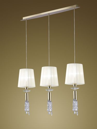 Mantra M3855FG Tiffany Bar Pendant Fitting 6 Light French Gold White Shades Clear Crystal