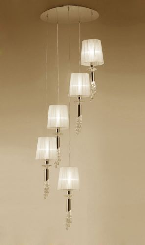 Mantra M3857FG Tiffany Pendant Fitting 10 Light Spiral French Gold Cream Shades Clear Crystal