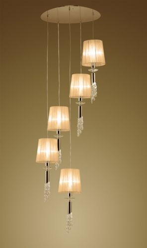 Mantra M3857FG Tiffany Pendant Fitting 10 Light Spiral French Gold Soft Bronze Shades Clear Crystal
