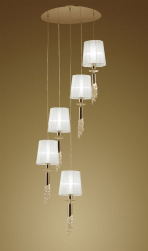 Mantra M3857FG Tiffany Pendant Fitting 10 Light Spiral French Gold White Shades Clear Crystal