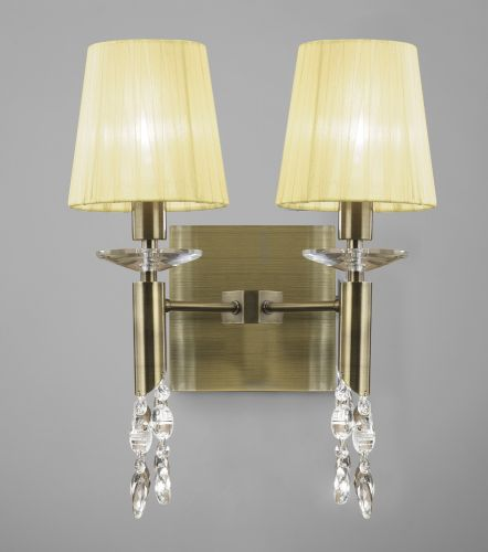 Mantra M3883 S Tiffany Wall Lamp Switched 4 Light Antique Brass Cream Shades Clear Crystal