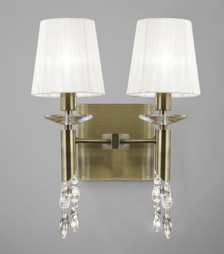 Mantra M3883 S Tiffany Wall Lamp Switched 4 Light Antique Brass White Shades Clear Crystal