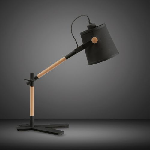 Mantra M4923 Nordica Table Lamp Black Shade 1 Light E27 Matt Black Beech Black Shade