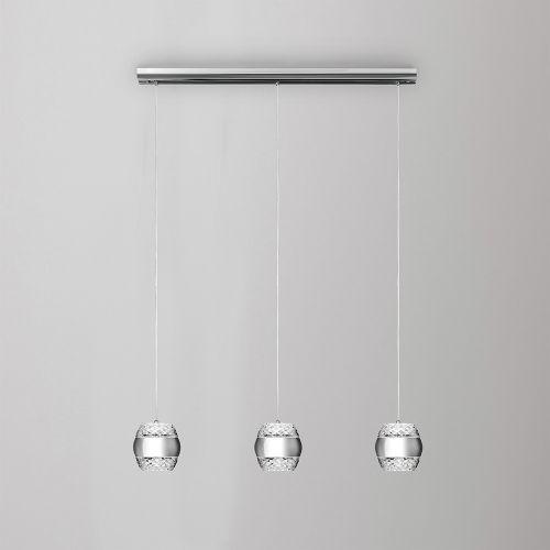 Mantra M5168 Khalifa Pendant 3 X 6W LED 3000K Line Polished Chrome Glass 3240lm