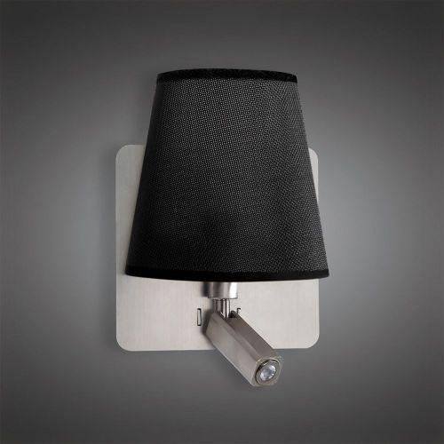 Mantra M5231 Bahia Wall Lamp Large Back Plate 1 Light E27 Reading Light 3W LED Black Shade Satin Nickel 4000K 200lm