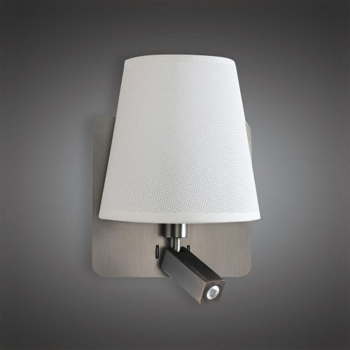 Mantra M5232 Bahia Wall Lamp Large Back Plate 1 Light E27 Reading Light 3W LED White Shade Satin Nickel 4000K 200lm