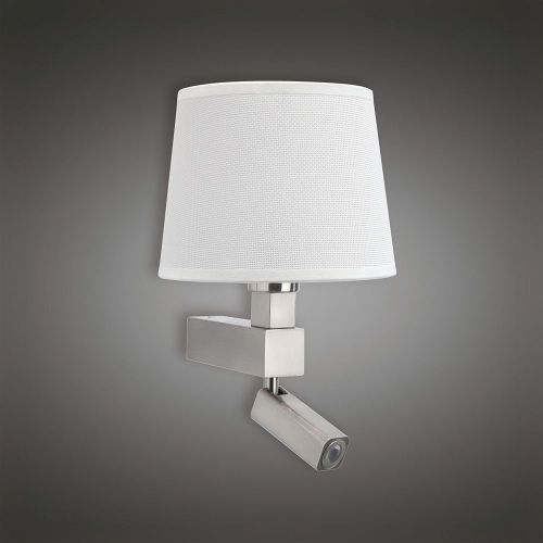 Mantra M5234 Bahia Wall Lamp 1 Light out Shade E27 Reading Light 3W LED Satin Nickel 4000K 200lm
