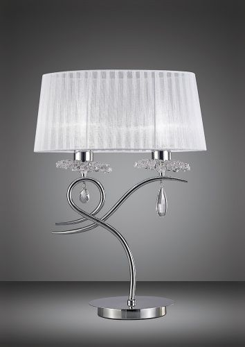 Mantra M5278 Louise Table Lamp 2 Light E27 Large White Shade Polished Chrome Clear Crystal
