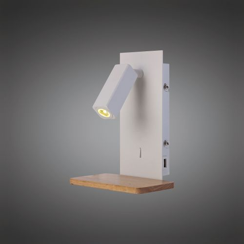 Mantra M5463 Nordica II Position Wall Light USB Socket 180lm 1x3W 3000K LED White Beech