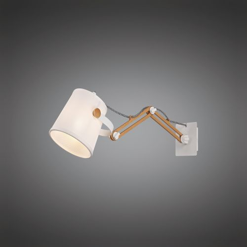 Mantra M5466 Nordica II Position Extendable Wall Light 1x23W E27 White Beech White Shade