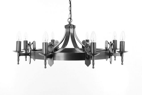 Impex SMRR00168/A Mitre 8Lt Aged Iron Ceiling Chandelier