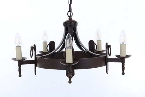 Impex SMRR00165/A Mitre 5Lt Aged Iron Ceiling Chandelier