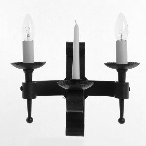 Impex SMRR00002C/MBLK Refectory 2Lt Matt Black Twin Wall Light and Wax Candle