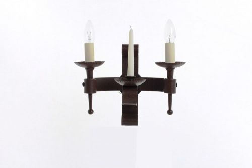 Impex SMRR00002C/A Refectory 2Lt Aged Iron Twin Wall Light and Wax Candle
