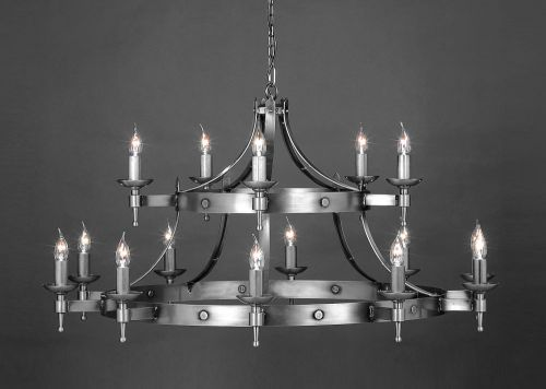 Impex SMRR01015/STR Saxon 15Light Sterling Two-Tier Ceiling Chandelier