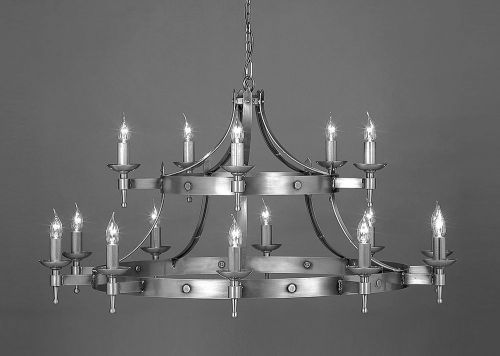 Impex SMRR01015/MBLK Saxon 15Lt Matt Black Two-Tier Ceiling Chandelier