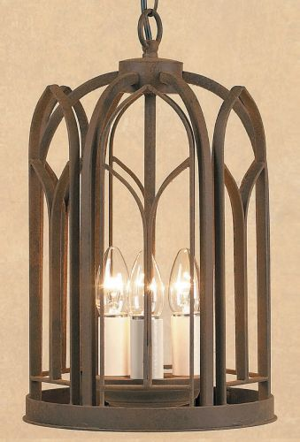 Impex SMRRV00001/A Villa 3 Light Aged Iron Ceiling Hanging Pendant Lantern