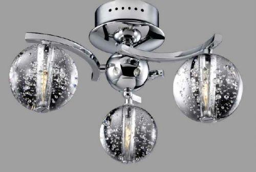 Avivo Bubbles FX1302-3A CH/CL 3 Light Flush Chrome Clear Glass Ceiling Fitting