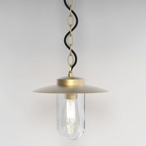 Astro Portree 8506 1 Light Pendant Natural Brass IP44 Ceiling Fitting