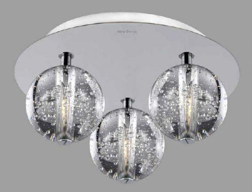 Avivo Bubbles FX1302-3B CH/CL 3 Light Flush Chrome Clear Glass Ceiling Fitting