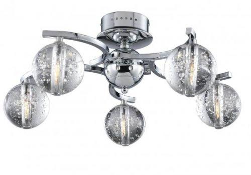Avivo Bubbles FX1302-5A CH/CL 5 Light Flush Chrome Clear Glass Ceiling Fitting