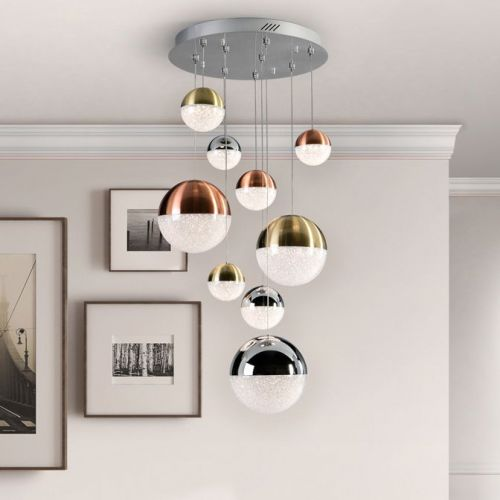 Schuller Sphere 793091 LED 9 Light Ceiling Cluster Pendant 1.5 Metre Drop Multicoloured