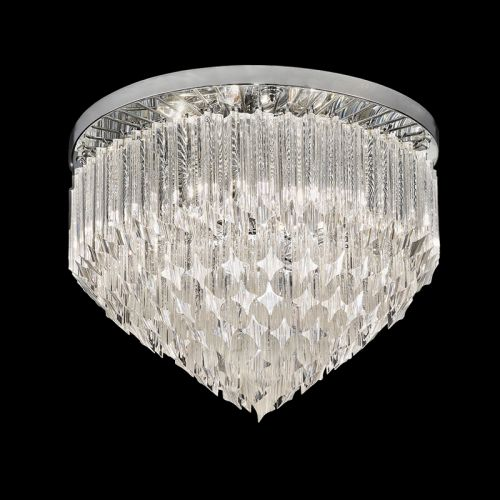 Crystal Flush Ceiling Fitting Tiered Polished Chrome Ravenna LEK61498
