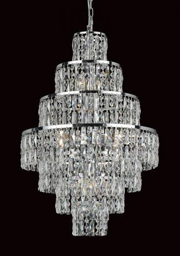 Impex CB03220/08/CH New York 8 Light Chrome Czech Crystal Ceiling Chandelier