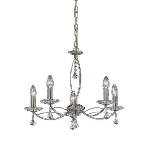 Multi-Arm Ceiling 5 Light Fitting Nickel Crystal Glass Larvotto LEK61221