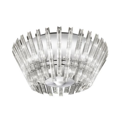 Flush Ceiling 8 Light Fitting Chrome Crystal Glass Rods Flair LEK61336