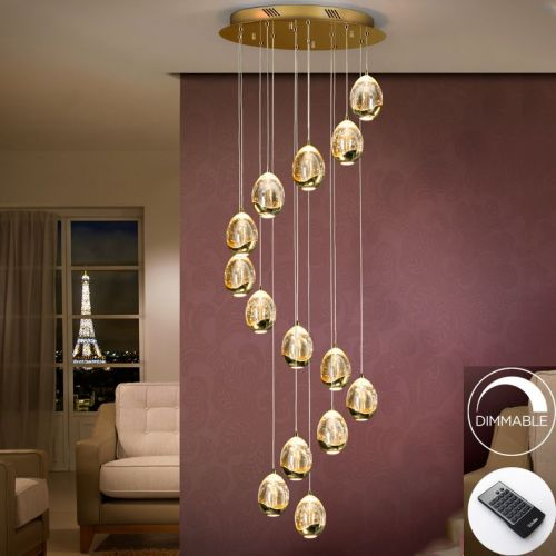 Schuller Rocio 785648D LED Ceiling Pendant 14 Light Gold