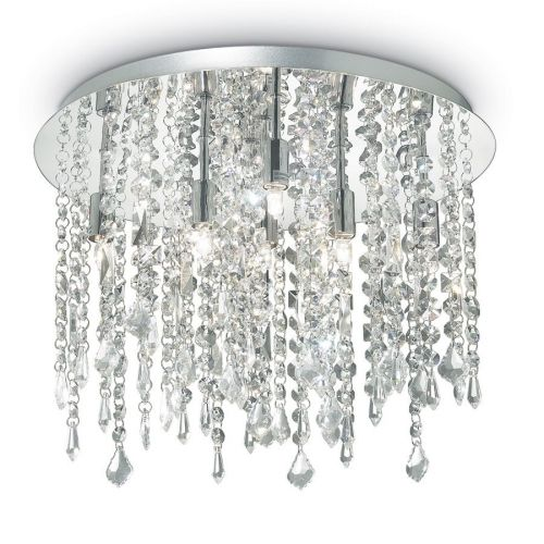 Ideal Lux Royal 052991 Crystal Ceiling Flush 8 Light Chrome