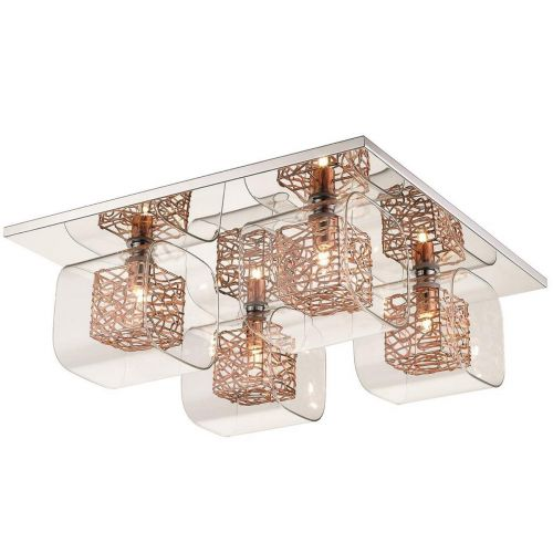 Flush 4 Light Fitting Copper and Polished Chrome Lekki Aldermoor LEK7063