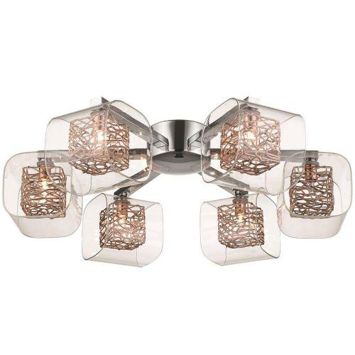 Flush Fitting  6 Light Copper and Polished Chrome Lekki Aldermoor LEK7067