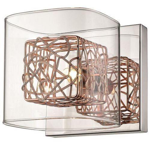 Single Wall Light Copper and Polished Chrome Lekki Aldermoor LEK7071