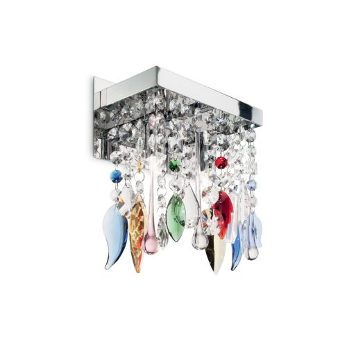Ideal Lux 099217 Giada Colour Crystal Twin Wall Light Chrome Frame
