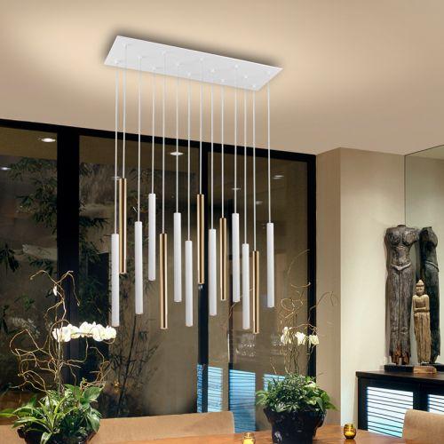 Schuller Varas 373437 LED 14 Light Gold and White Ceiling Pendant